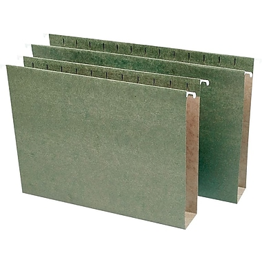 Staples® Box-Bottom Hanging File Folders, Letter, 5 Tab,  2in. Capacity, Standard Green, 25/Box