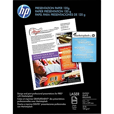 HP Professional Laser Premium Presentation Paper, 8 1/2in. x 11in., Glossy, 250/Pack