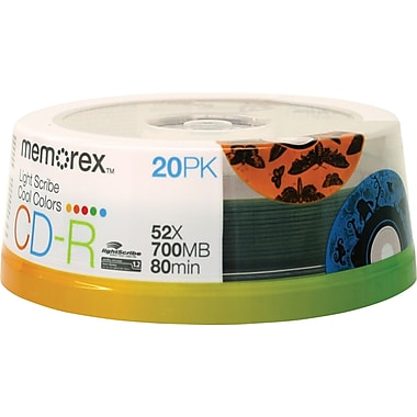 Memorex 20/Pack Cool Colors LightScribe 700MB CD-R, Spindle