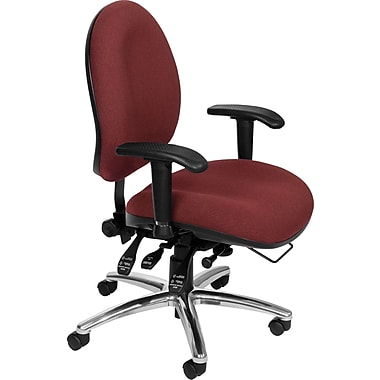 OFM 24 Hour Big & Tall Fabric Computer and Desk Office Chair, Adjustable Arms, Wine (811588010288)