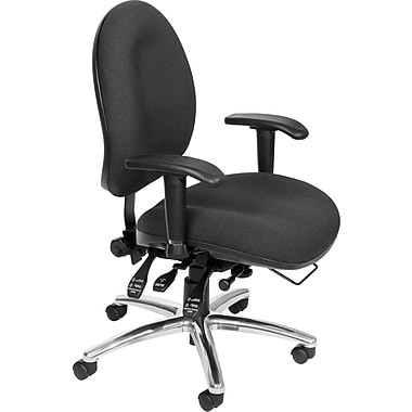 OFM 24 Hour Big & Tall Fabric Computer and Desk Office Chair, Adjustable Arms, Charcoal (811588013029)