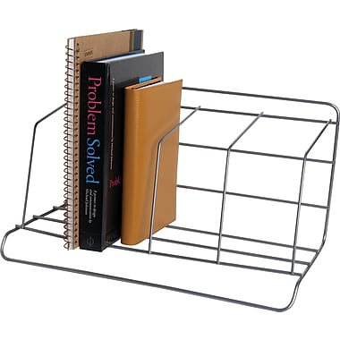 Staples® Wire Book Rack, 4 Compartments, Silver