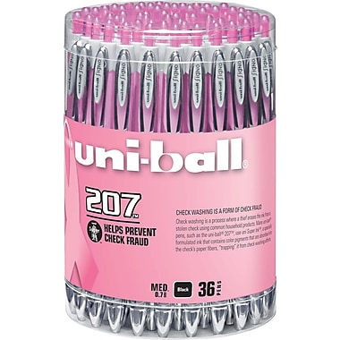 uni-ball® 207 Pink Ribbon Retractable Gel Pens, Medium Point, Black, 36/pk (1747985)