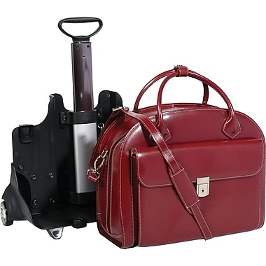 McKlein USA Glen Ellyn Leather  Detachable-Wheeled Ladies Case,15in.