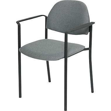 Global Custom Comet Stacking Reception Chair with Arms, Premium Grade, Grey,