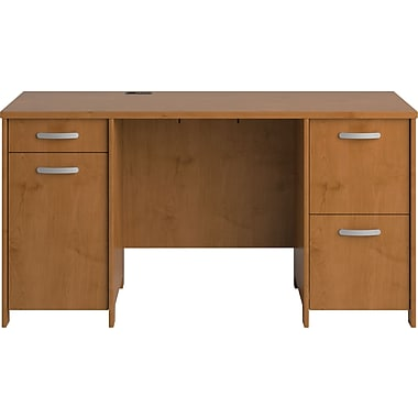 Bush Business Furniture Envoy 58W Double Pedestal Desk, Natural Cherry (PR76360K)