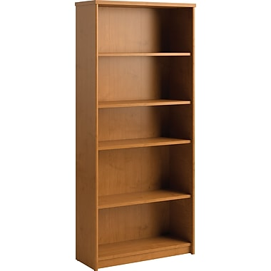 Bush® Envoy Collection 5-Shelf Bookcase, Natural Cherry Finish