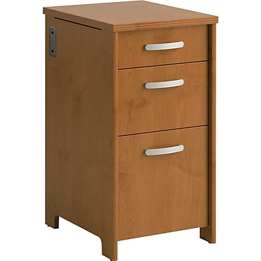 Bush® Envoy 3-Drawer Pedestal, Natural Cherry