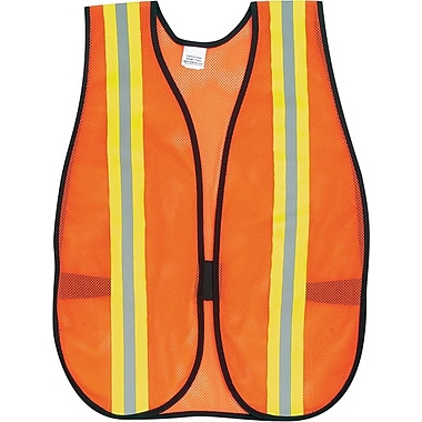 MCR Crews, Inc. Orange Safety Vest, 2in. Reflective Strips, Polyester, Side Straps, One Size