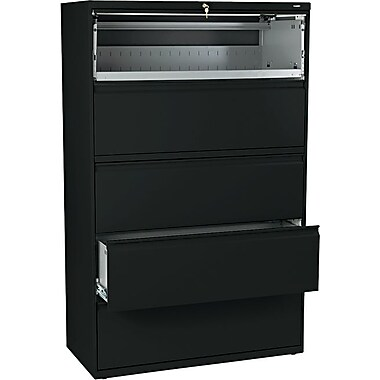 HON® Brigade 800 Series Lateral File Cabinet, 42in. Wide, 5-Drawer, Black