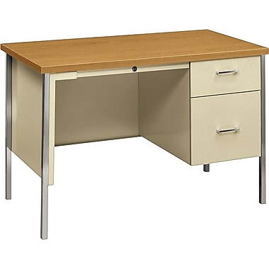 HON 34000 Series Single Pedestal Desk, Harvest/Putty