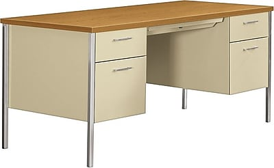 HON 34000 Series Double Pedestal Desk Harvest Putty