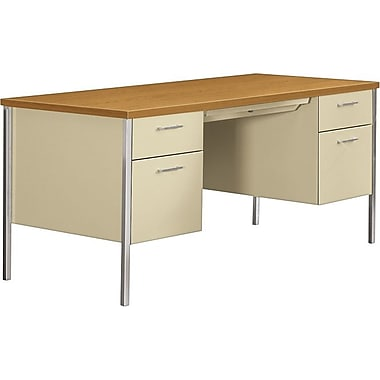 HON 34000 Series Double Pedestal Desk, Harvest/Putty