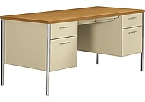 HON® 34000 Series Double Pedestal Desk, Harvest/Putty