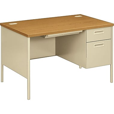 HON Metro Classic 48in. Right Single Pedestal Desk, Harvest/Putty
