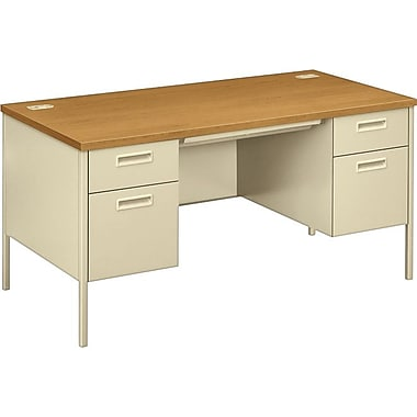 HON Metro Classic Double Pedestal Office Desk or Computer Desk, Harvest/Putty