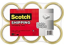Scotch® Lightweight Packaging Tape, Clear, 1.88' x 54.6 yds., 6/Pack
