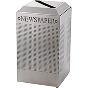 United Receptacle Silhouette Paper Recycling Receptacle, Steel, Square, 29 Gal, Silver Metallic