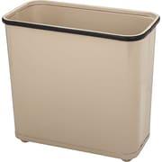 United Receptacle Fire-Safe Wastebasket, Rectangular, Steel, 7.5 Gal, Almond