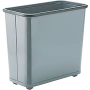 United Receptacle Fire-Safe Wastebasket, Rectangular, Steel, 7.5 Gal, Gray