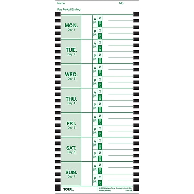 Lathem Time Cards, E8-100, Weekly, 1-Sided, 8 1/2in. x 3 3/4in., Box Of 100