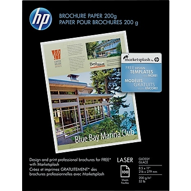 HP Brochure Paper, Glossy, 8 1/2in. x 11in., 100/Pack