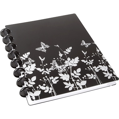 "M by Staples™ Arc Customizable Durable Poly Notebooks, Black with Butterflies, 6 3/8"" x 8 3/4"""