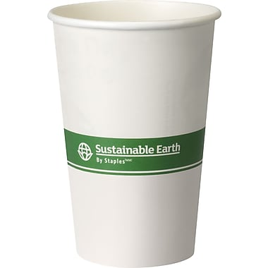 Sustainable Earth By Staples® Compostable Hot Cups, 16 oz., 300/Case