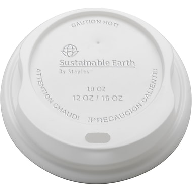 Sustainable Earth by Staples Compostable Hot Cups Lids, 10-16 oz., 500/Pack