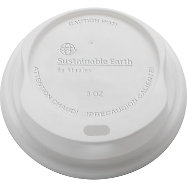 Sustainable Earth By Staples® Compostable Hot Cup Lids, 8 oz., 500/Case