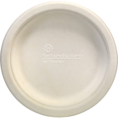 Sustainable Earth By Staples® Compostable Plates, 6in., White, 250/Pack
