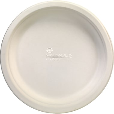 Sustainable Earth by Staples - Assiettes compostables de 9 po, blanc