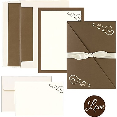Brown Swirl Folder Invitation and Note Card Kit