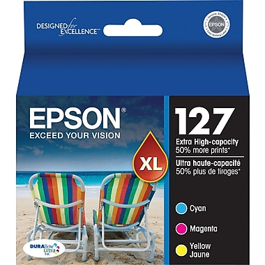 Epson 127 Color C/M/Y Ink Cartridge, Extra High Yield, 3/Pack (T127520-S)