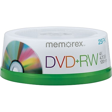 Memorex 25/Pack 4.7GB DVD+RW, Spindle
