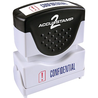 Accu-Stamp® Two-Color Shutter Stamps, in.CONFIDENTIALin. with Microban Protection