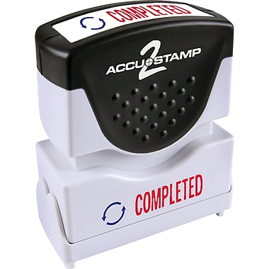 Accu-Stamp® Two-Color Shutter Stamps, in.COMPLETEDin. with Microban Protection