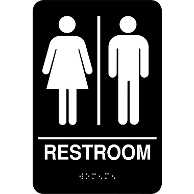 Cosco ada restroom sign unisex 6 x 9 staples for Unisex handicap bathroom sign