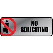 "Marking Products, Inc., Brushed Metal Policy Signs, ""No Soliciting"", 3""x 9"""