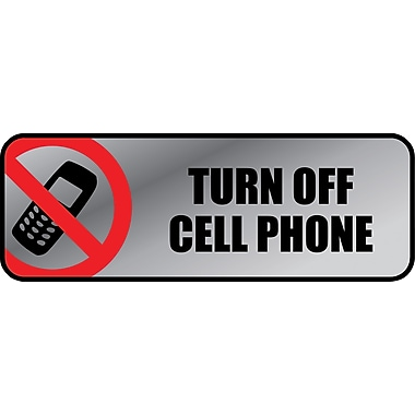 Marking Products, Inc., Brushed Metal Policiy Signs, in.Turn Off Cell Phonein., 3in. x 9in.