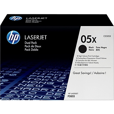 HP 05X Black Toner Cartridge (CE505XD), High Yield Twin Pack