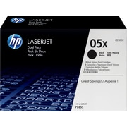 HP 05X Black Toner Cartridge, High Yield, 2/Pack (CE505XD)