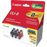 Canon® – Paquet valeur photo d'encre couleur CLI-8, 50 feuilles (0621B014)