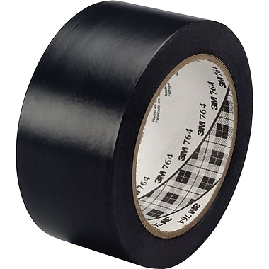 3M™ #764 Solid Vinyl Tape, Black, 1in.x36yds., 36/Case