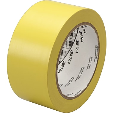 3M™ #764 Solid Vinyl Tape, Yellow, 1in. x 36 yds., 36/Case
