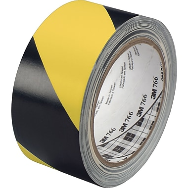 3M™ #766 Striped Vinyl Safety Tape, Black/Yellow, 3in.x36yds., 12/Case