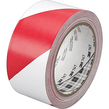 3M™ #767 Striped Vinyl Safety Tape, Red/White, 2