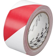 "3M™ #767 Striped Vinyl Safety Tape, Red/White, 2""x36yds., 24/Case"