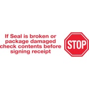2 x 110 yds. - Stop If Seal Is Broken Tape Logic™ Pre-Printed Carton Sealing Tape, 36/Case
