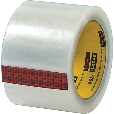 Scotch® #375 Hot Melt Packaging Tape, 3in. x 55 yds., Clear, 24/Case
